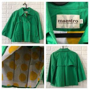 "Maestro Kelly green crop ""raincoat"" blazer"